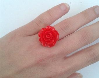 Red Rose flower ring - adjustable to your finger