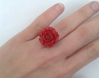 Dark Red Rose cabochon ring - adjustable to your finger