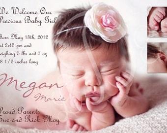 Baby Girl Custom Photo Birth Announcement