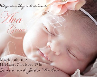 Baby Girl Custom Photo Birth Announcement