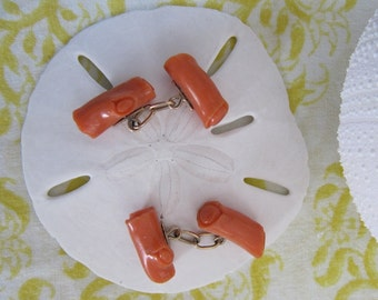 Art Deco Coral Branch and Gold Cufflinks, circa 1940