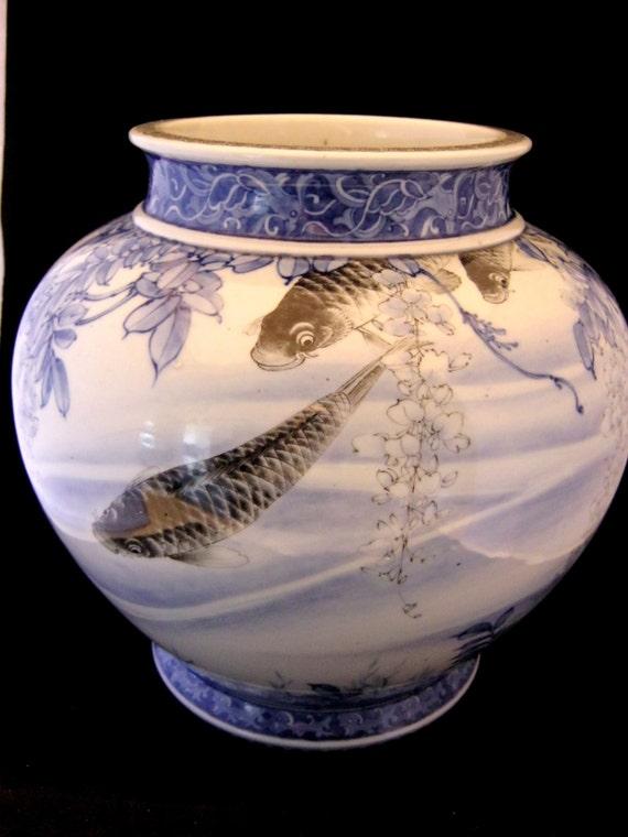 Japanese arita vase c1900 exquisite koi carp wisteria design for Koi fish vase