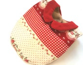 BABY GIRL BIB, Japanese fabric bib,red flower bib,double gauze bib,collar bib,infant,drooler bib 14 - JingleBib