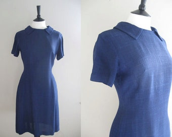 Vintage Linen Dress, Navy Linen, Circa 1960, Mod Dress, Approx UK size 12-14