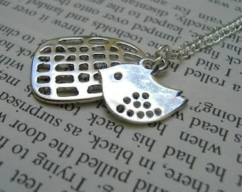 Flown the Coop - Silver Bird and Birdcage Necklace