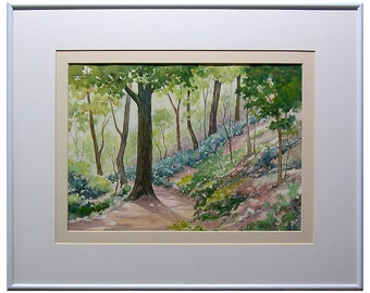 Landscape - Midwestern Spring - Path - Hills -  Watercolor Painting