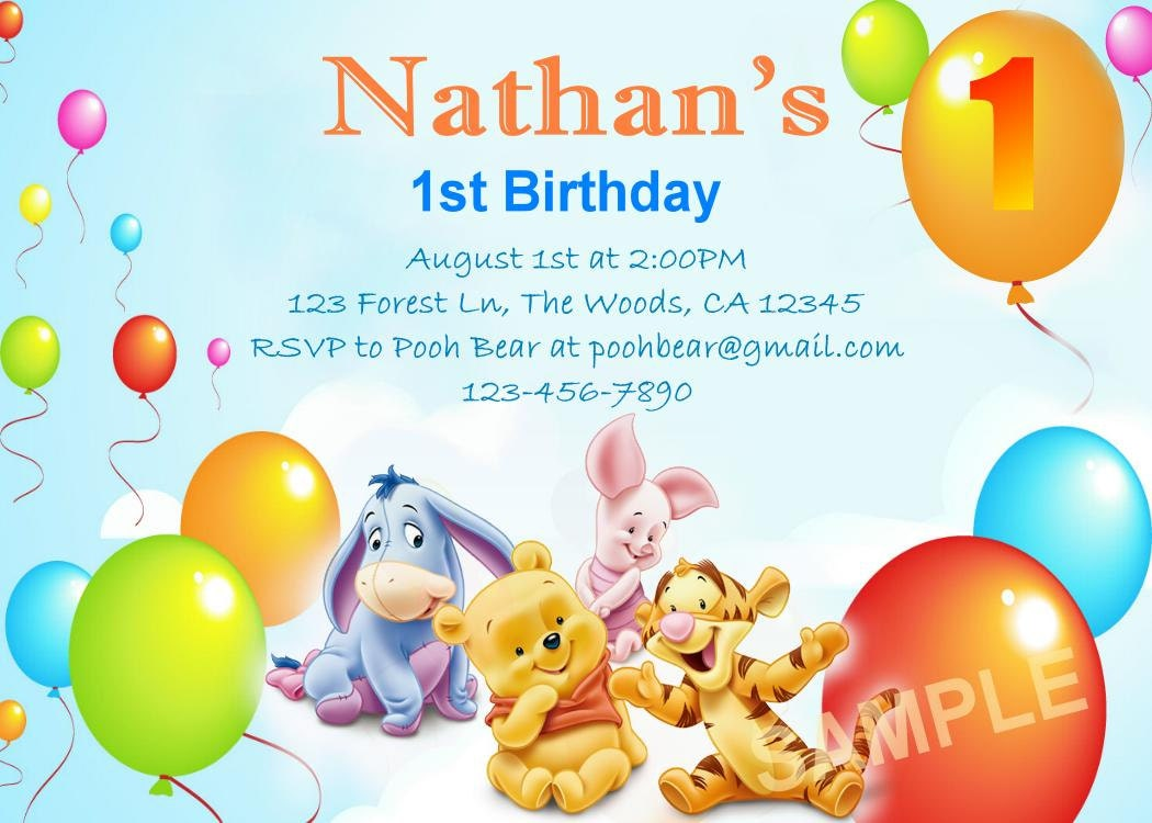 Personalized Pooh Bear and Friends Birthday Invitation DIY – Pooh Birthday Cards