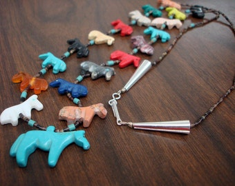 All Horse Multicolored Fetish Necklace with Black Pen Shell