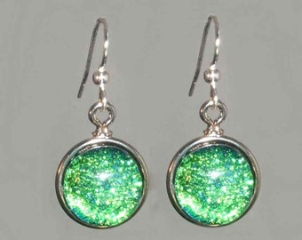 Handcrafted Dichroic Glass Earrings with sterling silver-finished surgical steel earwires