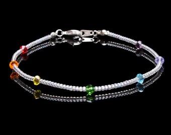 Swarovski Crystal and Seedbead Chakra Anklet