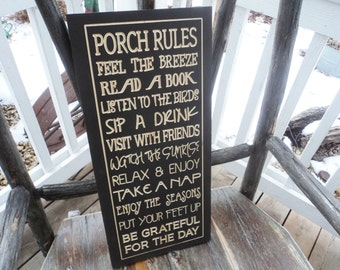 Porch rules sign Deck Rules sign, Patio Rules Sign outdoor living Sign Carved Engraved 12x24 carved