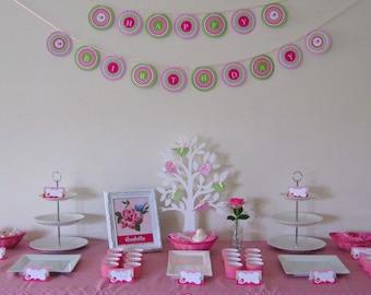 Sweet Tweet Birdie First Birthday - Pink & Green - Printable Customized Package