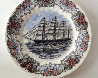 Nautical Ship Plate by Currier and Ives / England Churchill / Tall Ship Boat with Border of Flags Ropes Anchor