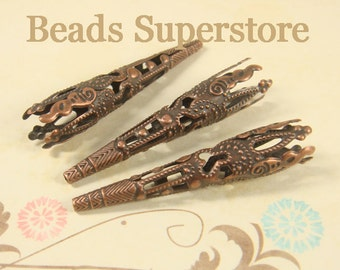 42 mm x 8 mm Antique Copper Filigree Bead Cone - Nickel Free - 20 pcs