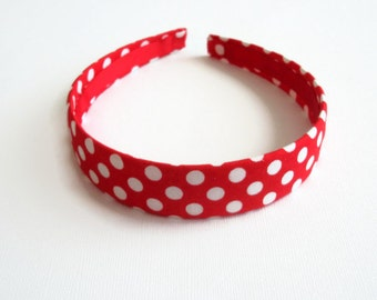 Fabric headband: red with white dots headband, fabric covered plastic headband with designer fabric.