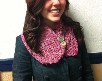 Knitted Pink Fashionable 1/2 Scarf