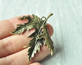5pcs Antique Bronze Huge Leaf Charms Large Maple Leaf Pendants 54x48mm K644