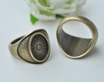 6pcs Antique Bronze Filigree Rings Base Settings with 14x10mm Oval Pad K389