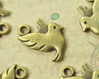 20pcs Antique Bronze Little Bird Charms Double Sided 13x14mm MM766