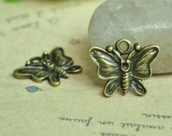 15pcs Antique Bronze Butterfly Charms 15x18mm MM802