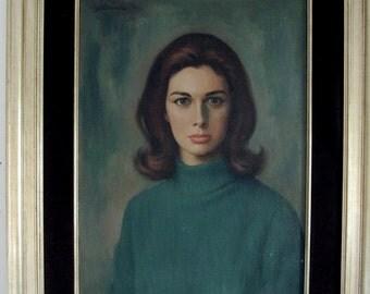 1960's Mad Men Era Portrait- Woman with Green Turtleneck