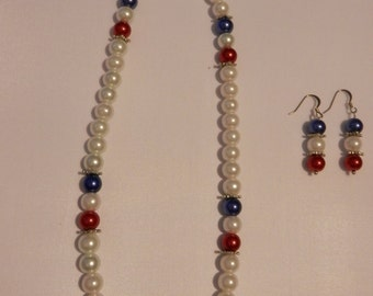 Patriotic red, white and blue necklace and earrings