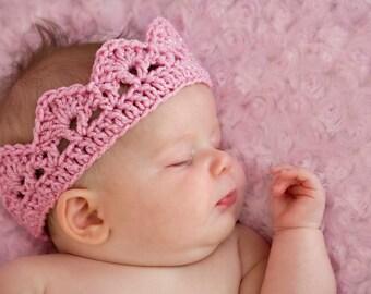 Ready To Ship Newborn Baby Pink Crown Crochet Photo Prop