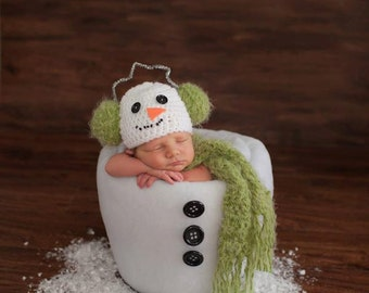 Newborn Baby Earmuff Snowman Christmas Holiday Hat Crochet Photo Prop