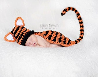 Ready To Ship Newborn Baby TIger Hat & Cape Set Crochet Photo Prop