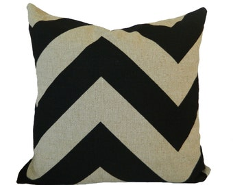 18''x18'' Pillow Cover Chevron in Stone Black and Denton