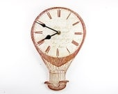 Hot Air Balloon Clock. Steampunk Clock. Brown Etching Wall Clock Living Room Decor Wood Timber Upcycled