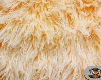 """Faux Fur Long Pile Ultra Mongolian 2 Tone MANGO Fabric / 64"""" W / Sold by the yard"""