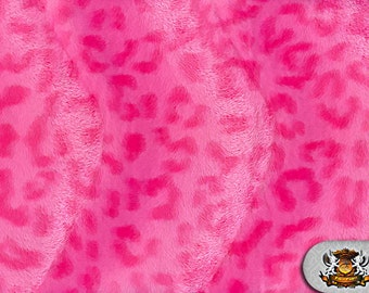 Leopard Pink Velboa Animal Print Fabric Sold by the Yard