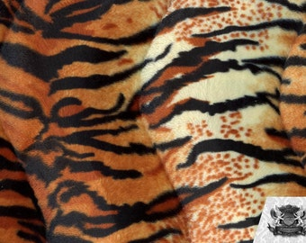 Tiger Orange Velboa Animal Print Fabric Sold by the Yard