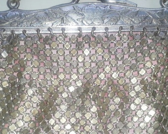 Vintage Great Gatsby purse/ Art Deco 1920's Metal mesh purse silver and gold stamped silver