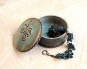 Blue anchor jewelry box rustic wood trinket box