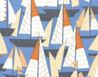 "SUPER CLEARANCE! 34"" REMNANT Cabana Regatta Periwinkle Blue Cotton Quilt Fabric - by Kanvas - Benartex Fabrics (W91)"
