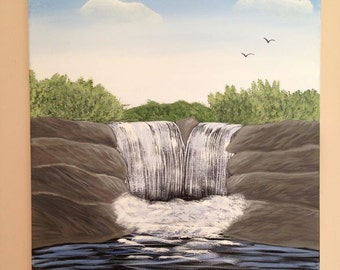 Waterfall painting 16x20x.75 canvas,rock painting,water painting,bird painting,landscape,wall decor,canvas art.