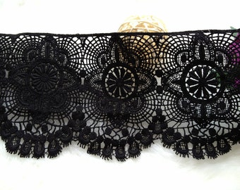 Black Lace Trim Cotton Embroidery Lace Hollow out Lace Trim 4.33 Inches Wide 2 Yards
