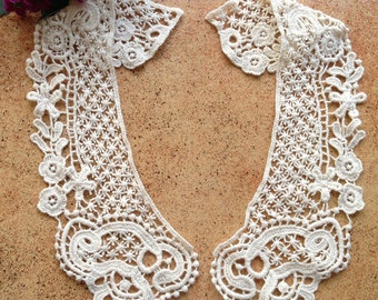Beige Cotton Lace Collar Applique, Sewing Supplies, Venice Cotton lace Collar 1 Pair