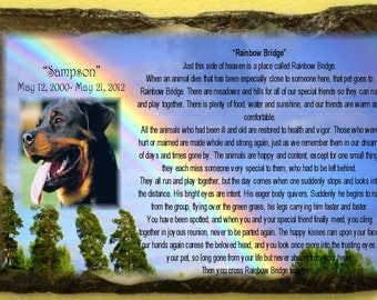 Personalized Pet Photo Memorial Rainbow Bridge on Slate