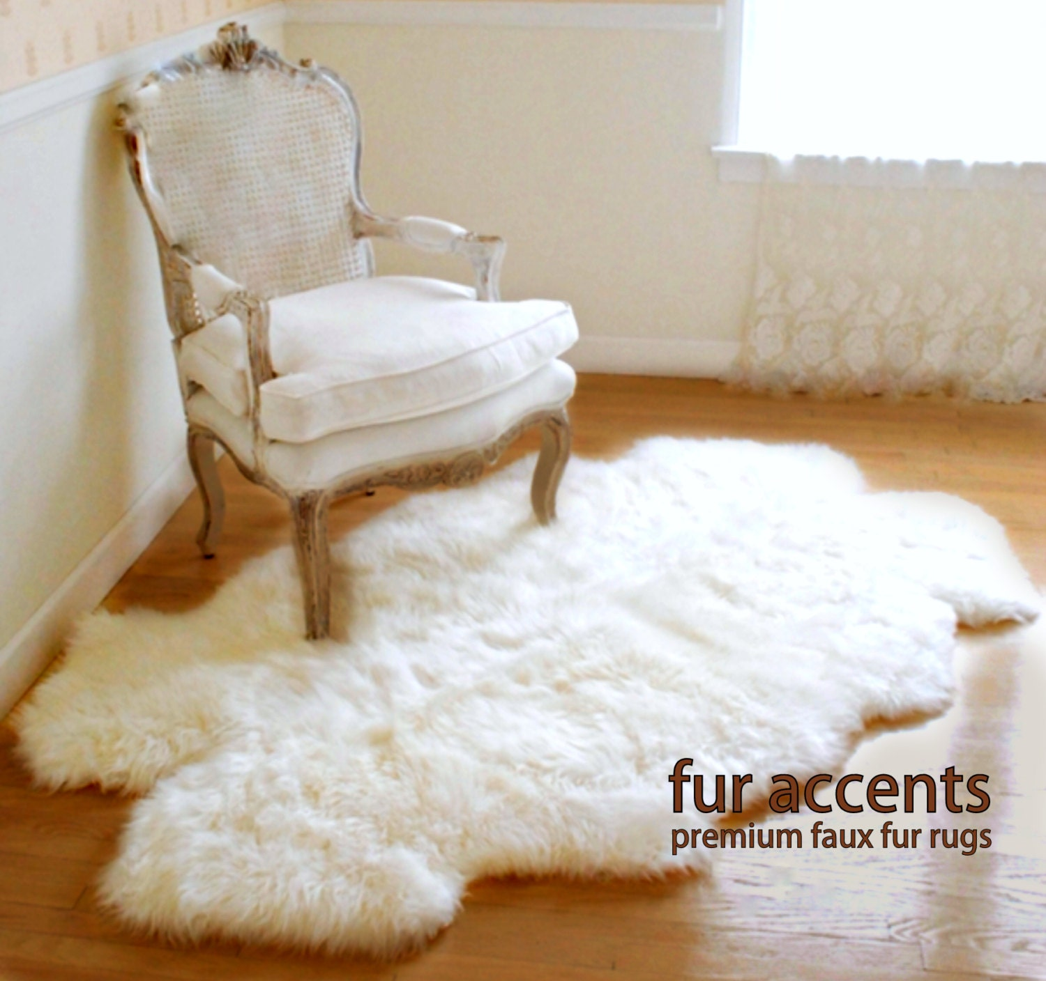 Fur Accents Little Prince / Off White Area Carpet Throw Rug