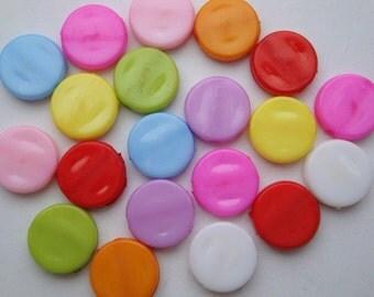 Acrylic disc beads mix, 50 pcs, plastic flat round kitsch mixed multi colour pastel