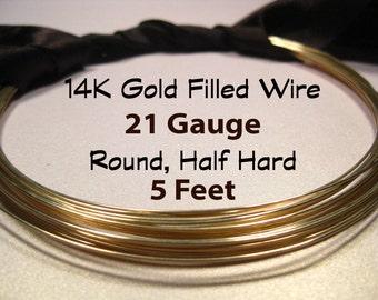 15% Off SALE!! 14K Gold Filled Wire, 21 Gauge, 5 Feet WHOLESALE, Round, Half Hard