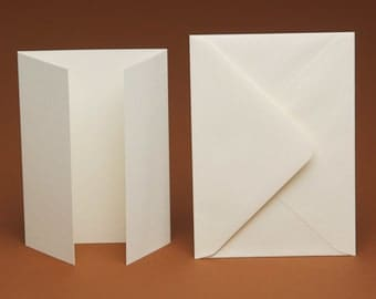 50 A5 BLANK GATEFOLD Cards and 50 C5 plain Envelopes (ivory, white, cream, linen, hammered, smooth)