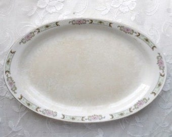 Homer Laughlin Empress Ironstone Oval Platter- Vintage Dish -Art Deco- Creamy Ivory with Delicate Floral Designs- Lovely Old Tableware