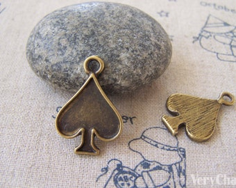 10 pcs of Antique Bronze Poker Spade Charms 17x20mm A5271