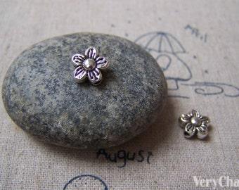 20 pcs of Tibetan Silver Antique Silver Lovely Flower Beads 9x9mm A4999