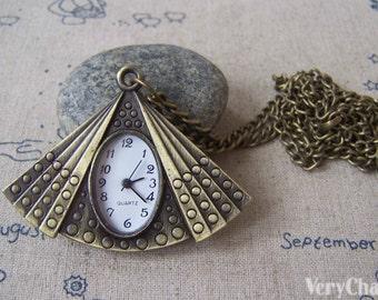 1 PC of Antique Bronze Vintage Fan Pocket Watch 40x54mm A4622