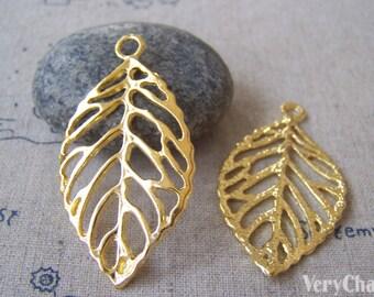 10 pcs of Gold Tone Huge Filigree Tree Leaf Charms Pendants 26x44mm A4256